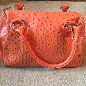 Handbags - Orange ostrich pattern bowler bag